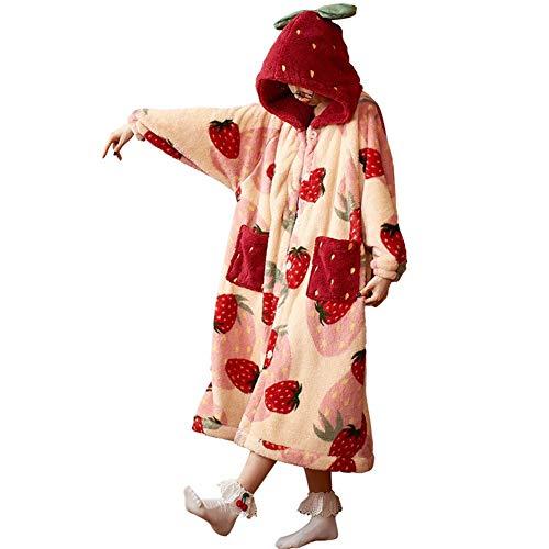 UKKD Nachthemden Damen Herbst Winter Mädchen Nachthemd Flanell Verdicken Bademantel Damen Korallen Fleece Nachtwäsche Weiche Plüsch Robe Mit Kapuze Damenheim Kleidung-Pink Strawberry,XL
