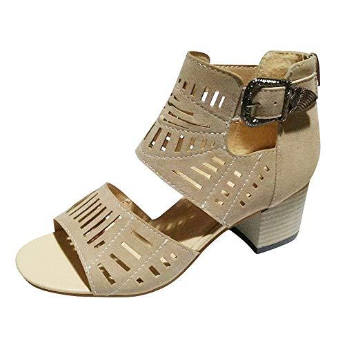 VJGOAL Mujer Sandalias de tacón Cuadrado Zapatos Romanos Peep Toe Huecos de Moda Sandalias de Vestir Casual Vintage con Punta Abierta Bohemia de Verano Sandalias de Playa