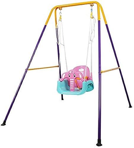 HYXQY Klappsitz, Outdoor Indoor Swing H ematte, Sicherheitskindersitz, Geschenk für Kinder (Farbe   Rosa, Größe   L)