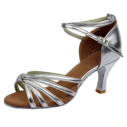 Womens Latin Dance Shoes,Casual Buckle Strap Mid-Heels Satin Shoes Party Wedding Tango Dancing Shoes Sandals 5-8 (Silver, US:6.5)