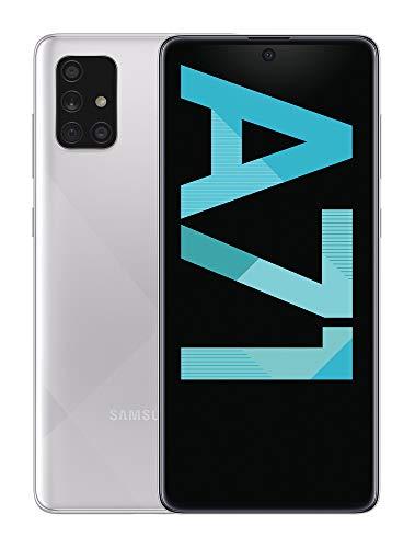 Samsung Galaxy A71 Smartphone, Display 6.7' Super AMOLED, 4 Fotocamere Posteriori, 128 GB Espandibili, RAM 6 GB, Batteria 4500 mAh, 4G, Dual Sim, Android 10, Prism Crush Silver