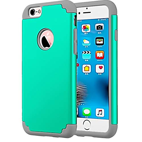 Compatible with Regular 4.7 inch Apple iPhone 8 (2017 Release) / iPhone 7 (2016 Release).Phone, 2 Layer Hybrid Hard PC Cover Soft Rubber Bumper Anti-Scratch Shockproof Protective Phone Cases-Teal