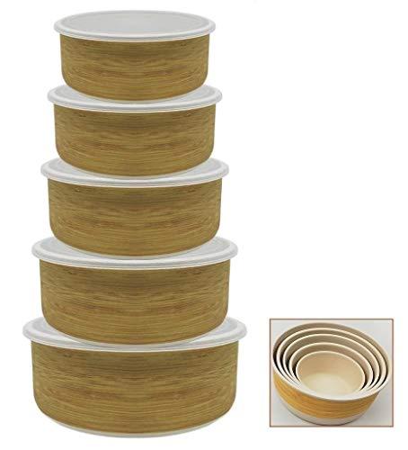Tuper de Bambu - 5 Tupers de Fibra de Bambú Ecologicos - Material Organico, Reciclable, Biodegradable - Apto Lavavajillas - Resistente y Ligero - Eco, Bio, sin BPA ni Plastico - Apilables - Madera