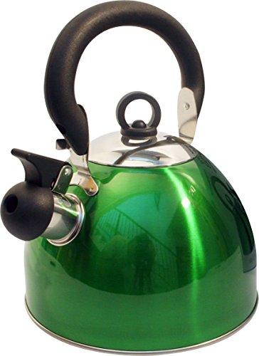 Home cordless 2.5l bollitore con fischio in acciaio INOX leggero con tradizionale/retrò beccuccio per piani di cottura stufa top–verde metallizzato–by Guilty Gadgets