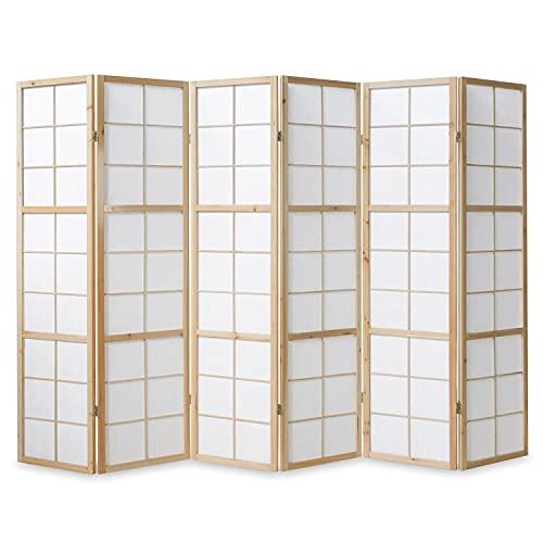 Homestyle4u 280, Paravent Raumteiler 6 teilig, Holz Natur, Reispapier Weiß, Höhe 175 cm