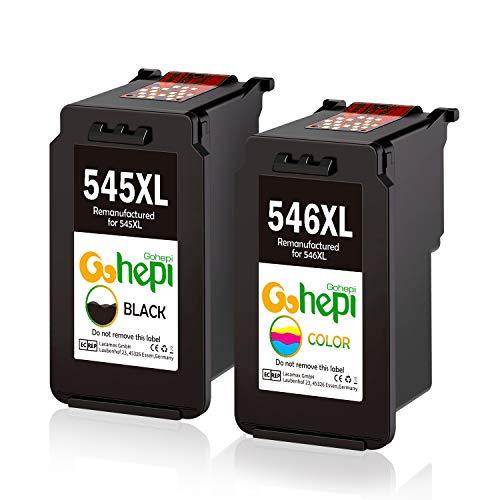 Gohepi Remanufactured Canon PG-545XL CL-546XL Cartucce d'Inchiostro Confezione 2 Nero/Tri-colore per Canon PIXMA iP2850 iP2800 MG2400 MG2450 MG2455 MG2500 MG2550 MG2900 MG2920 MG2950 MG2555 MX495