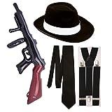Questo fantastico set da 4 pezzi comprende: 1 x cappello Trilby Gangster + 1 x cravatta in raso + 1 x paio di bretelle (larghezza 3,5 cm) + Pistola Tommy gonfiabile. - Paper Umbrella per prodotti di alta qualità.
