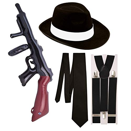 Costume da Gangster, travestimento, 4 pezzi, colore: nero