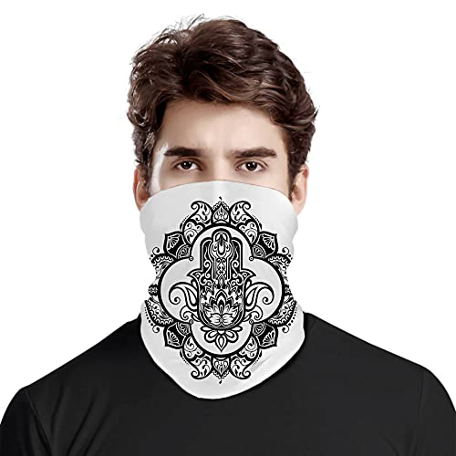 FULIYA Gran cara cubierta bufanda protección cuello, estilo boho, estilo antiguo, con diseño de tatuaje de mehndi étnico de tercer ojo, variedad de bufanda unisex