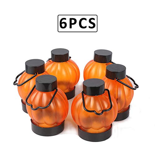 ZDZQDD 6Pcs / Set Grimace Pumpkin Lantern Halloween LED Electronic Luminescence Pumpkin Lantern Party Bar Festival Birthday Decorations Props-Yellow Flash