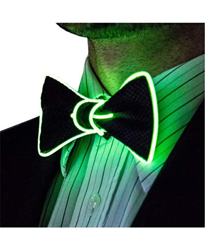 Light Up St Patricks Day Bow Tie, Irish Green by Neon Nightlife | Men's Glow in the Dark LED Tie