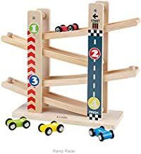 Arkmiido Toddler Wooden Car Track Toys with 4 Mini Car Racers (Green)