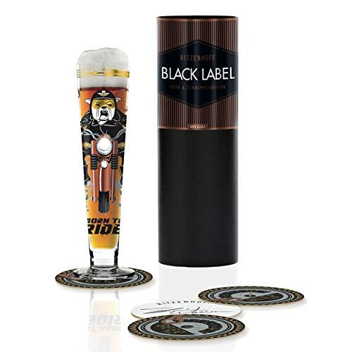 RITZENHOFF Black Label Bierglas von Shari Warren, aus Kristallglas, 300 ml, mit fünf Bierdeckeln