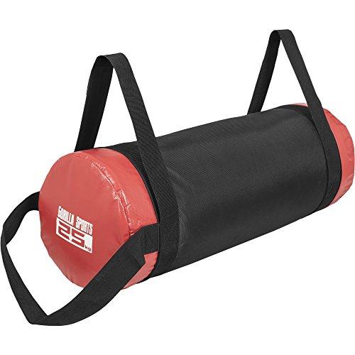 GORILLA SPORTS Fitness Sandbag 5-30 kg Schwarz/Rot– Power-Bag mit Sand in 6 Gewichtsvarianten