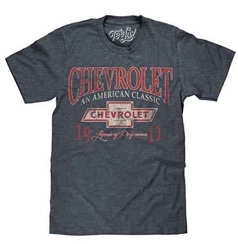 Tee Luv Chevrolet an American Classic T-Shirt - Chevy 1911 Shirt (Indigo-Black Heather) (LG)