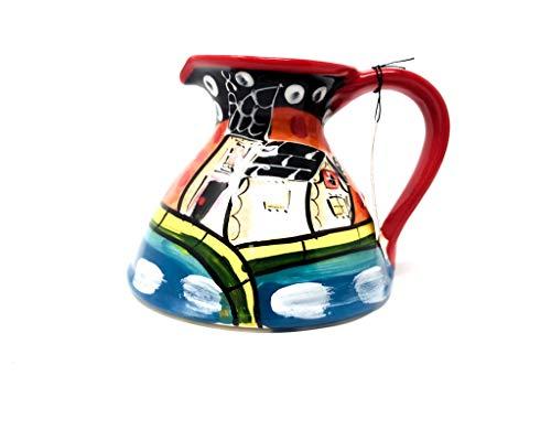 Verano Spanische Keramik-Krug Picasso, Flacher Boden, 14 cm hoch
