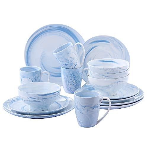 vancasso Clara Juego de Vajillas 16 piezas,Vajilla de Porcelana, Platos Azules, Taza...