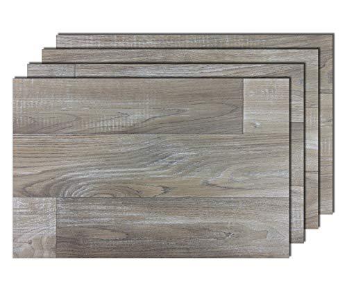 4er Premium Tischsets Holzoptik Eiche Gekalkt Grau | abwaschbar | PVC-CV | je ca. 43,5x28,5cm | je ca. 1,8mm | je ca. 150g | Gastro-Qualität | bazaaro