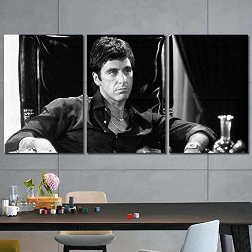 YYUI Stampe E Quadri su Tela 3 Pezzi al Pacino Tony Montana Scarface 3 Pannelli Quadri Stampa Pannello Pittura Immagini Moderni Murale Arte Moderna Foto Decorazione da Parete Vintage 70x50cmx3