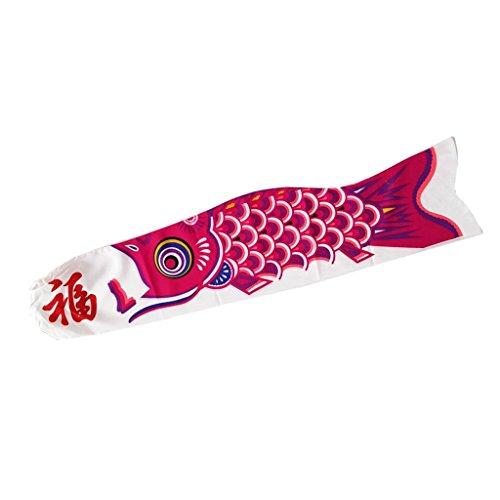 KESOTO Wunderschöne Windsack Windspiel Windsocke Windanzeiger Flagge Koi Nobori - Rose Rot, 90 cm