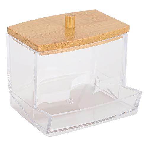 Recipiente Tampa de bambu transparente Distribuidor de palito, caixa de cotonete, para palitos Cotonetes para bolas de algodão Palitos de dente(rectangle)