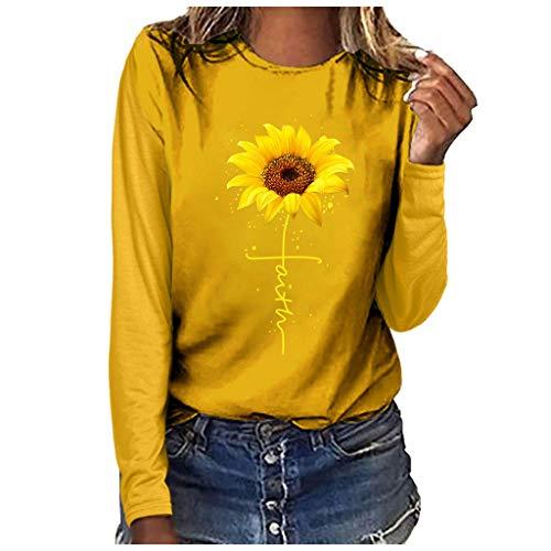 LOPILY Damen Oberteile Sonnenblumen Druck Pullover Rundhals Hoodie Freizeit Sweatshirts Große Größen Basic Einfarbige Pulli T-Shirt Damen Hoodies Damen Oversize Skinsuits Arbeithemden (Gelb, 40)