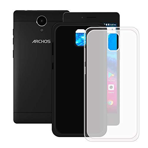 DQG Anti-Fall Schutzhülle für Archos Core 50 Hülle, 2 Stück Weiche Flexibel Handytasche Semi-Transparent + Schwarz TPU Handyhülle Silikon Tasche Schale Case Cover für Archos Core 50 (5.0