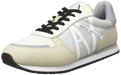 ARMANI EXCHANGE Rio Retro Running, Sneaker Donna, Grey+off White, 41 EU