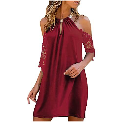 GULASISI Sommerkleid Damen Neckholder Kleid Sexy Elegant V-Ausschnitt Einfarbig Spitze Trägerlos Aushöhlen Minikleid Abendkleider Knielang