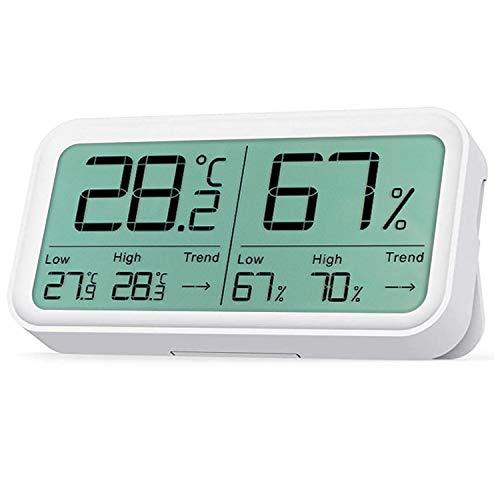 温湿度計 デジタル 温度計 湿度計 ワイヤレス 温度 湿度 高精度 4.4インチ大画面 最高最低温度湿度値 トレンド表示 強力マグネットと卓上スタンド付き 乾燥対策 体調健康管理 ホワイト Zeonetak