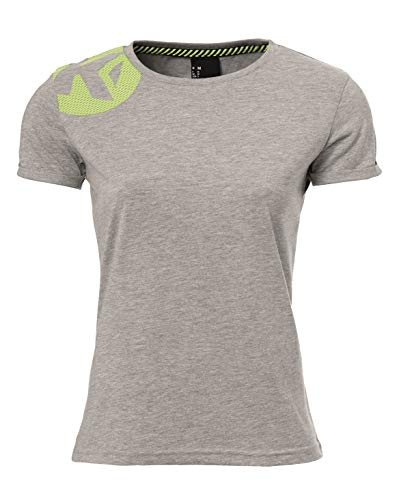 Kempa Caution Camiseta, Mujer, Gris Claro Jaspeado, M