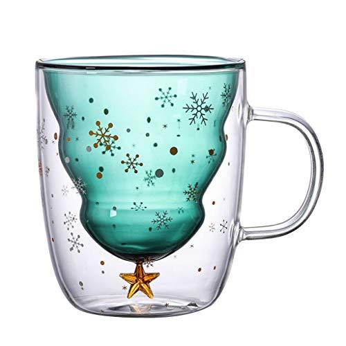 HUANGRONG Mano Copas Taza Copas Taza de café Taza Creativas Doble Capa de Vidrio de Navidad árbol de la Estrella Taza de Agua de Alta Temperatura Grabadas Copa