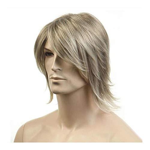 Mannen Blond Medium Lang haar pruiken lengte 16 inch Hoge temperatuur vezel Pruik for mannen