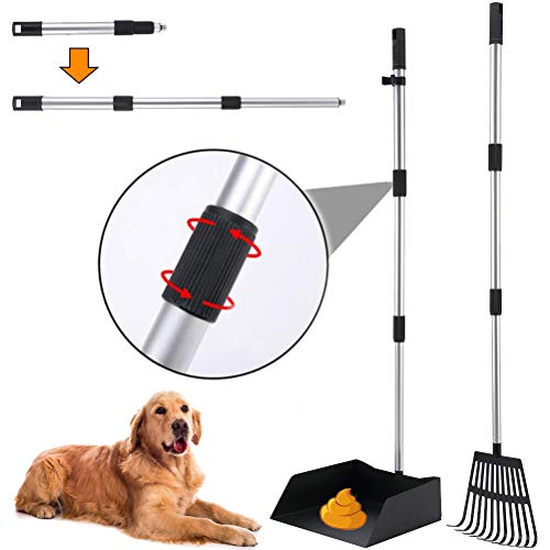 BINGPET Upgraded Dog Pooper Scooper - Metal Pet Poop Rake and Tray Set with Long Extendable Handle for Small to Large Dogs, Rust Proof Waste Removal Scoop for Pets Gravel Dirt Grass