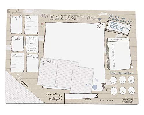 Eine der Guten Schreibtischunterlage A3 aus Papier zum Abreißen - DENKZETTEL Design für kreative Köpfe - Beige, 30 x 42 cm, 25 Blatt Schreibunterlage Abreißblock, Recyclingpapier