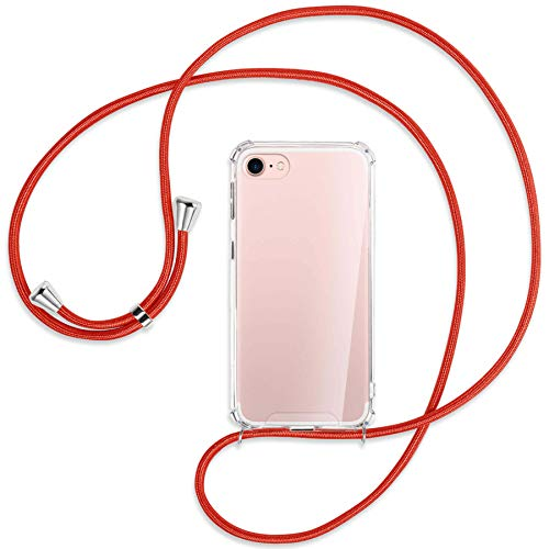 mtb more energy Collar Smartphone para Apple iPhone SE 2020, iPhone 8, iPhone 7 (4.7'') - Rojo - Funda Protectora ponible - Carcasa Anti Shock con Cuerda