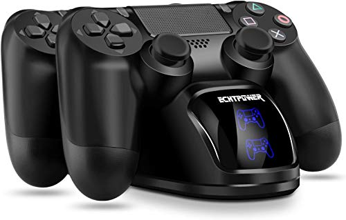 PS4 Controller Ladestation, ECHTPower Dual Dualshock 4 Ladegerät Charger, Doppeltes Schnellladegerät mit LED Anzeige für PlayStation 4/PS4 Slim/PS4 Pro Wireless Controller Gamepad (Blau+ Orange LED)