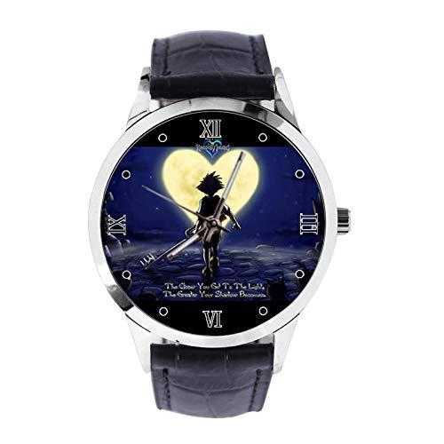 Kingdom Hearts - Reloj de pulsera unisex analógico de cuarzo con correa de cuero para niñas y niños