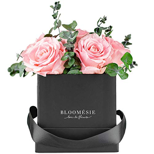 BLOOMÉSIE Duftende Rosenbox mit Eukalyptus l 7-9 Infinity Rosen (rosa) l Flowerbox...