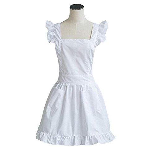 Petite White Victorian Lace Bib Apron Pinafore Maid Cinderella Alice Cosplay Kitchen Cook Apron