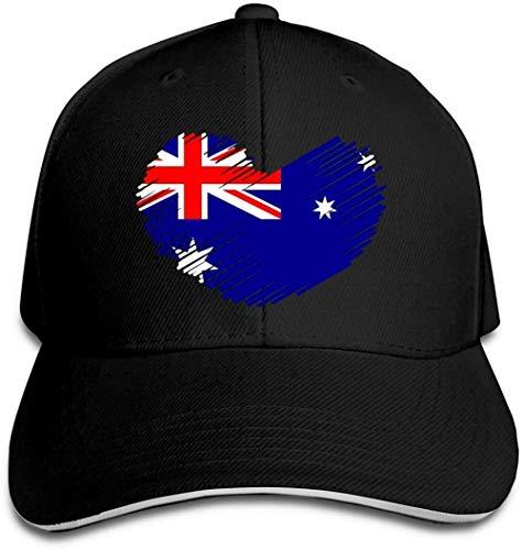 ZYZYY - Berretto da baseball unisex con bandiera australiana a forma di cuore, regolabile, con visiera