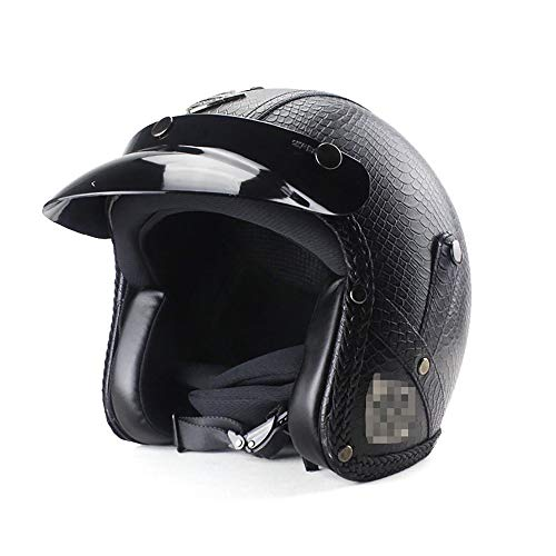Open Face Helm Jethelm Mopedhelm Motorradhelm ABS Helm HD Linse Sicherheitsschloss Winddichter GehöRschutz Personalisierter Harley Helm Motorrad 3/4 Helm Halber Helm