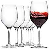 FAWLES Crystal Red Wine Glasses Set of 6, Ultra-Thin Rim 17 Ounce Stemmed Clear Wine Glass Set for Red, White, Sparkling Wine, Italian Style Stemware for Wine Tasting, Birthday