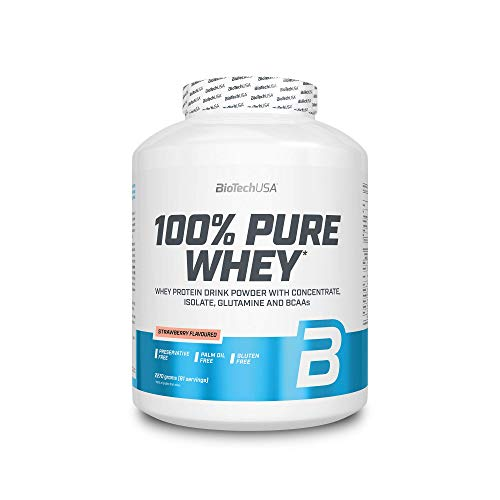 BIOTECH USA 100% Pure Whey Strawberry 2270 g Lactose Free | Whey Protein Powder Shake with Concentrate, Isolate, glutamine and BCAA |