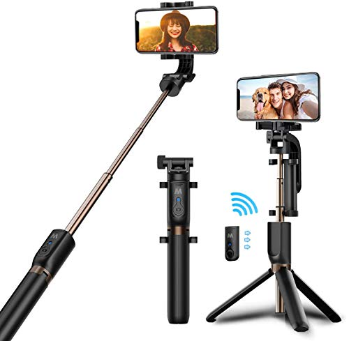 WISCLASS Selfie Stick Tripod,Bluetooth Selfie Stick with Tripod Stand and Detachable Remote, Extendable Monopod for iPhone X/XS Max/XR/8 Plus/7/6S Plus, Galaxy S9/S9 Plus/S8, GoPro & Action Cameras