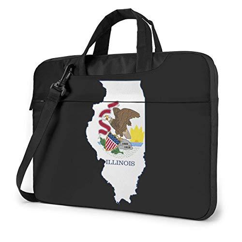 Flag Map of Illinois Fashion Laptop Case Laptop Shoulder Messenger Bag Sleeve for 15.6 Inch