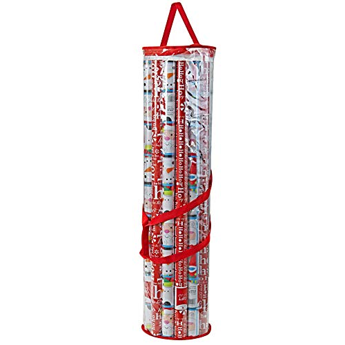 ProPik Gift Wrapping Paper Storage Organizer Bag, Store Up to 24 Rolls 40 Inch, Heavy Duty PVC Clear Bag with Handles and Zippered Top Wrap and Ribbons (Red Trimming)