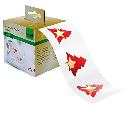 SIGEL CS117 Rollo de 200 stickers navideños adhesivos, 'Red Trees', Arbol de navidad rojo con estrella dorada