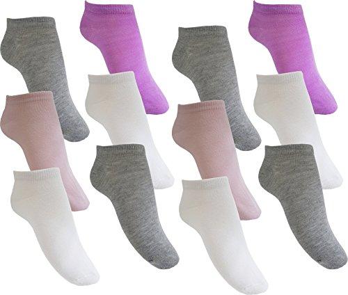by Laake 12 Paar Mädchen Sneaker Socken Kindersocken 95% Baumwolle bunter Mix Uni Gr. 27-30 (MC215 27-30)