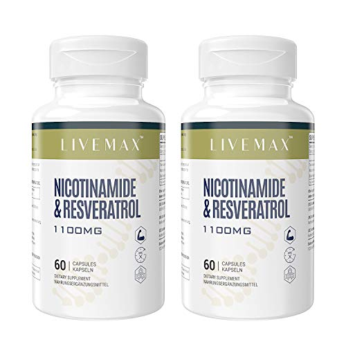 Nicotinamide + Trans Resveratrol Capsules with Maximum Strength - Superior Absorption Dietary Supplement 60 Capsules - Supports Healthy Aging, NAD Booster for Cellular Repair & Energy (2 Pack)